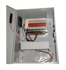 Zdroj, 12V DC, 16 portů, 20A celkem, 240W, PTC pojistky, skříňka, zálohovatelný baterií (12Ah)