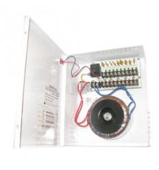 Zdroj 24V AC, 9 port, 10A, 240W, PTC ochrana, skříňka na stěnu