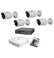 Kamerový set Dahua - 4x venkovní IP kamera 1Mpix IR přísvit 30m + záznam s HDD 1TB + napájecí switch