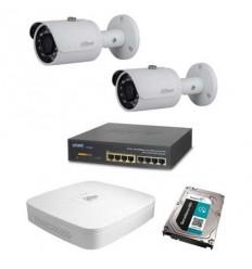 Kamerový set Dahua - 2x venkovní IP kamera 3Mpix IR přísvit 30m + záznam s HDD 1TB + napájecí switch