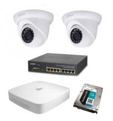 Kamerový set Dahua - 2x stropní IP kamera 1Mpix IR přísvit 30m + záznam s HDD 1TB + napájecí switch