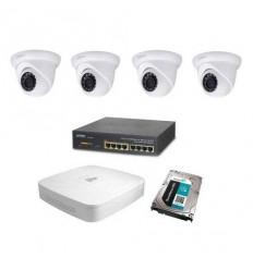 Kamerový set Dahua - 4x stropní IP kamera 1Mpix IR přísvit 30m + záznam s HDD 1TB + napájecí switch