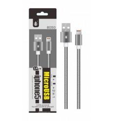 Datový a nabíjecí kabel PLUS 8050, MicroUSB + iPhone Lightning, metal
