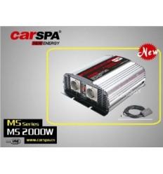 Měnič napětí Carspa MSD2000UR 12V/230V+USB 2000W, mod. sin, dálkové ovládání+digital display