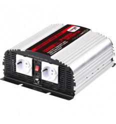 Měnič napětí Carspa MSD1200UR 12V/230V+USB 1200W, mod.sin, dálkové ovládání+digital display