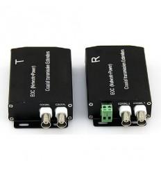 LAN over Coax, s přenosem napájení, 100Mbps, 12V až na 2km, pár přijímač a vysílač