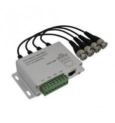 Balun BNC/UTP, pasivní, 4x BNC, 75/100ohm ,RJ45 a svorkovnice, TVS ochrana, pro AHD a HD-CVI