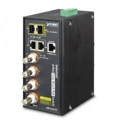 LRP-422CST, průmysl.COAX PoE switch, 4x 100Base-TX, 2x SFP/TP, IEEE802.3at,Web/SNMPv3, -40-75°C,IP30