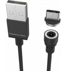 USB-C kabel, magnetický, opletený 1m černý