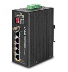 LRP-104CET, COAX/UTP extender, slave, 4x 100Base-TX, PoE IEEE802.3at, dosah až 1km, -20 až 70°C