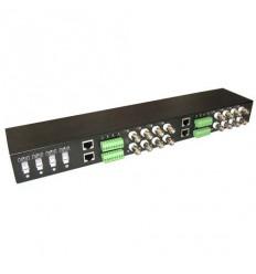 Balun BNC/UTP, pasivní, 16x BNC, 75/100ohm, 4x UTP RJ45 a svorkovnice, CVI/TVI/AHD, rackmount 19 palce