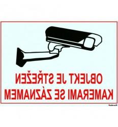 Bezpečnostní tabulka pro kamerové systémy, transparentní, zrcadlový tisk, 210x150mm