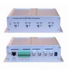 Balun BNC/UTP, aktivní, 75/100, TX, 4xVideo, regulace zesílení, RJ45 i svorkovnice