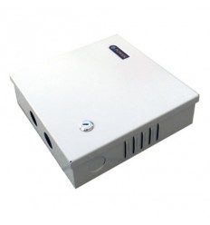 Zdroj pro analog. kamery, 12-14V DC nastavitelné, 4 porty, 3A celkem,36/40W, tavn. pojistky, skříňka