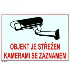 Bezpečnostní tabulka pro kamerové systémy, bílá, 140x100mm