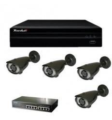 Kamerový set - 4x venkovní IP kamera 2Mpix s IR přísvitem 40m + NVR pro 8 kamer s 2TB + PoE switch
