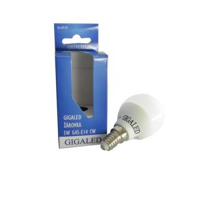 GIGALED žárovka G45,E14,240V,5W,420lm,5500-6000K