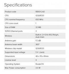 Mikrotik RB931-2nD,32MB RAM,3xLAN,wireless AP,mini