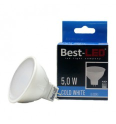 BEST-LED žárovka MR16, 12V DC/AC, 5W, 409lm-470lm, 5500K
