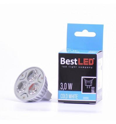 BEST-LED žárovka MR16, 12V DC, 3W, 270lm, 6000K